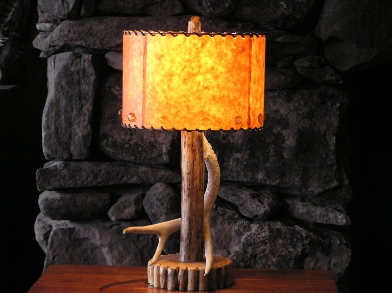 Cabin Table Lamps on Cabin Lamp With 8  Drum Shade   Glass Beads