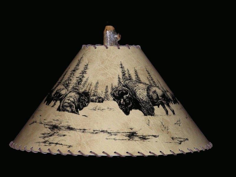 Table Lamps Lighting Rustic Buffalo Lamp Shade