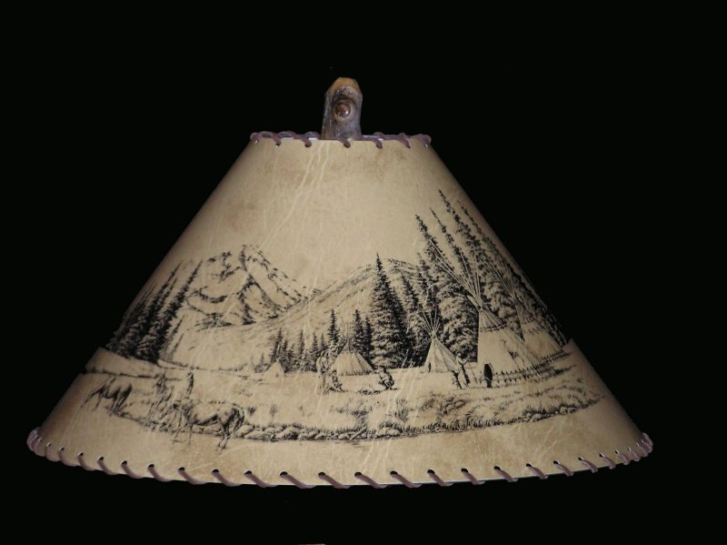 rustic indian village scene lamp shade