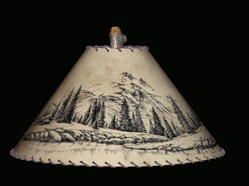 rustic mountain scene lamp shade. Black Bedroom Furniture Sets. Home Design Ideas